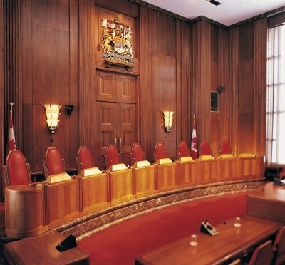 Photo - Judges' bench facing the tables for counsel in the Main Courtoom (before 2008)