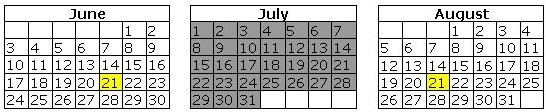 June, July and August Calendars
