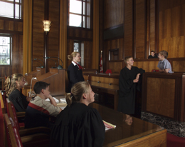 Mock trial with a group of students
